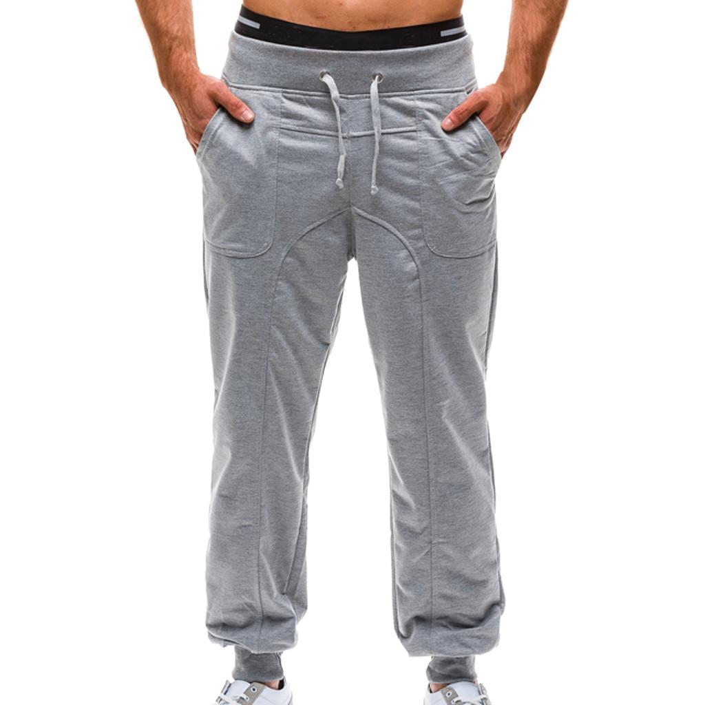4c1e2b52e4e Acheter Pantalons De Survêtement Pantalons Jogger Pantalons 2018 Hommes  Pantalons Couleur Pure Tethers Poche Ceintures Élastiques Lâche Pantalon De  Sport ...