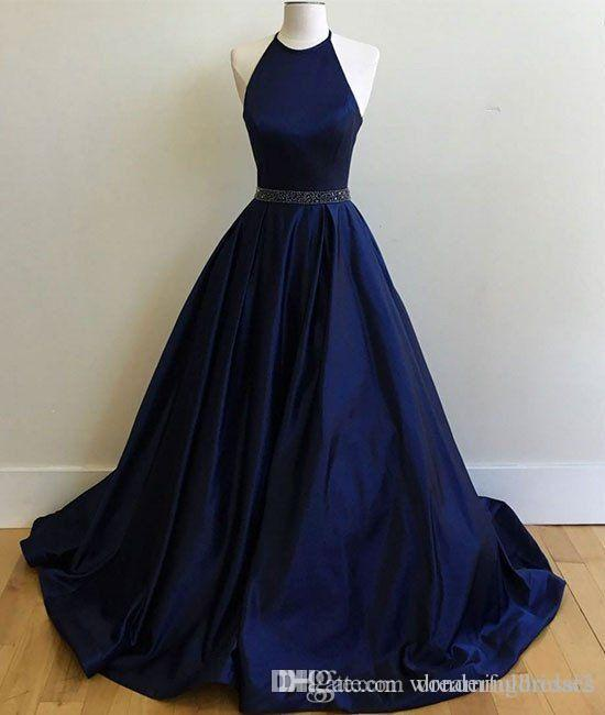 Nuevos Sexy Halter De Fiesta Sash Fancy Crystal Línea Recepción Cuentas Una 2k17 Royal Blue Baile Con Vestidos pGLMqSzUV