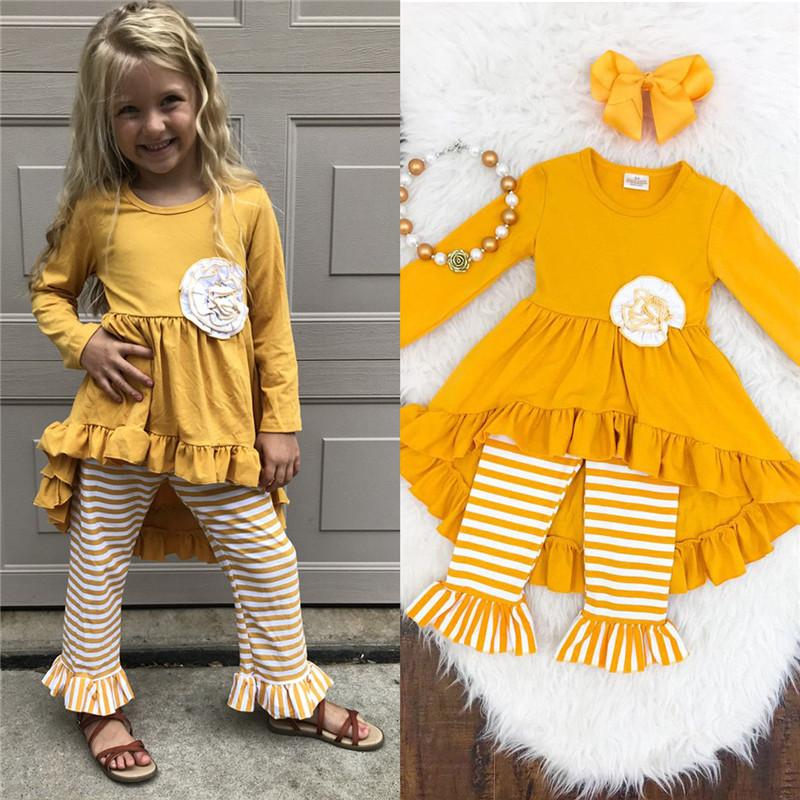 8be5a8683 2019 Pretty Floral Kids Girls Cotton Outfits Autumn Clothes Long ...