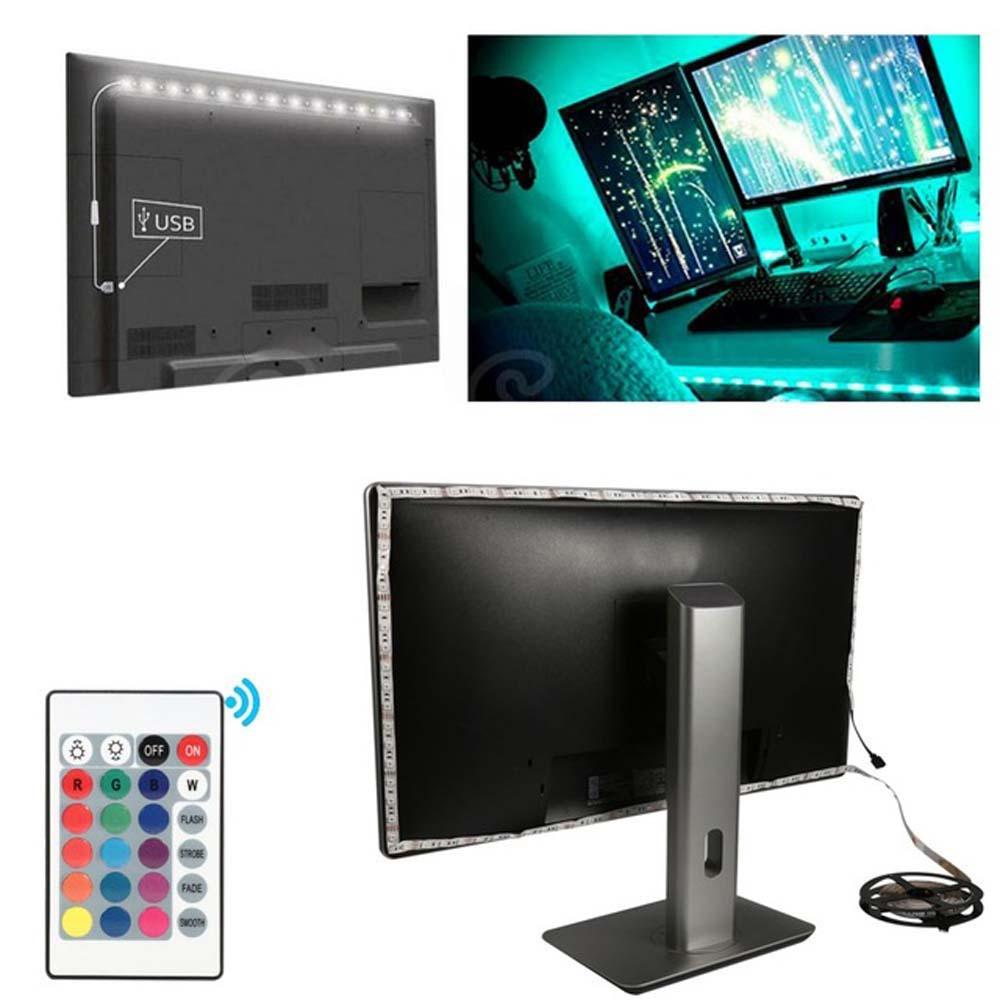 USB مزاج الخفيفة RGB LED متعددة الألوان الخفيفة قطاع TV الخلفية بعيد Contral