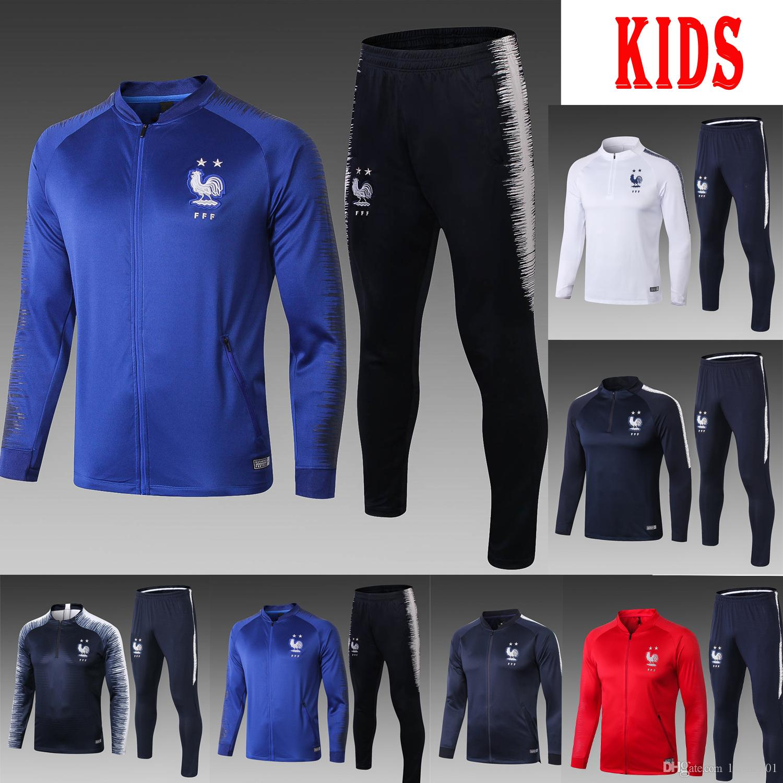 18 19 France Kids Soccer Tracksuit Training Set GRIEZMANN Football Suit New  POGBA MBAPPE MATUIDI Maillot Survetement Equipe De La France Kid UK 2019  From ... bbc0c125a