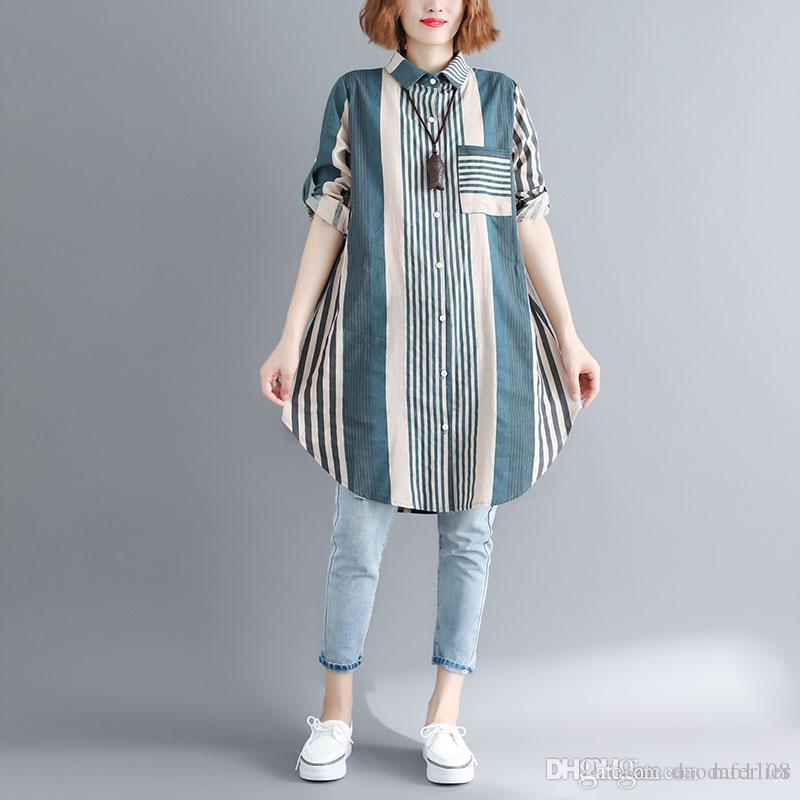 e2c0634696f 2019 2018 Autumn Cotton Linen Women Blouses Long Sleeve Loose New Style One  Size Vintage Striped Long Shirts From Daodao1108, $20.11 | DHgate.Com