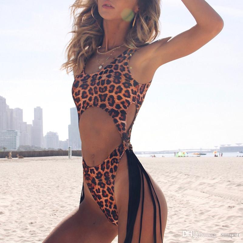 f33baba4a97 Brazilian sexy bikini 2019 thong Tassel leopard one piece swimsuit Push up  high cut swimwear women Monokini string bathing suit