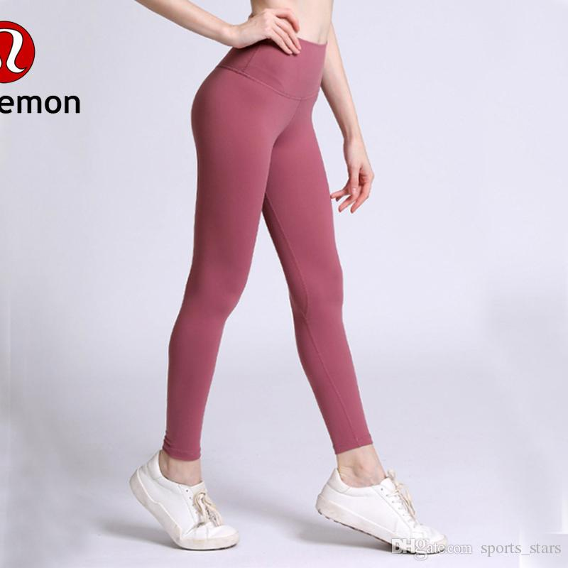 YHigh Waist Women yoga pants Solid Color Sports Gym Wear Leggings Elastic Fitness Lady Overall Full Tights Workout lu-08