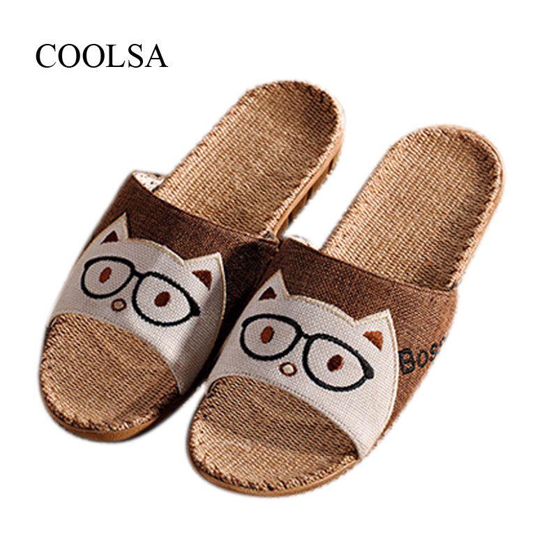 0a63ed405 COOLSA Men's Flat Sandals Cute Cat Flax Animal Slippers Indoor Bathroom Home  Linen Slippers Beach Flip Flops Men Slides Shoes