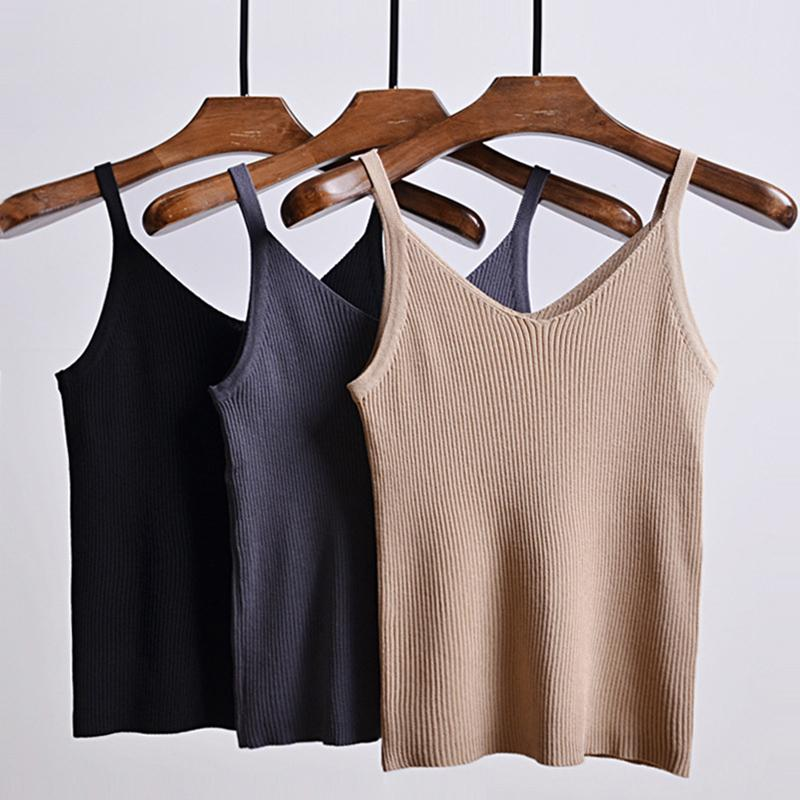 2019 Fashion Crop Tops Women 2019 Sexy Knitted Tank Tops Summer ... 545cece6e0bf