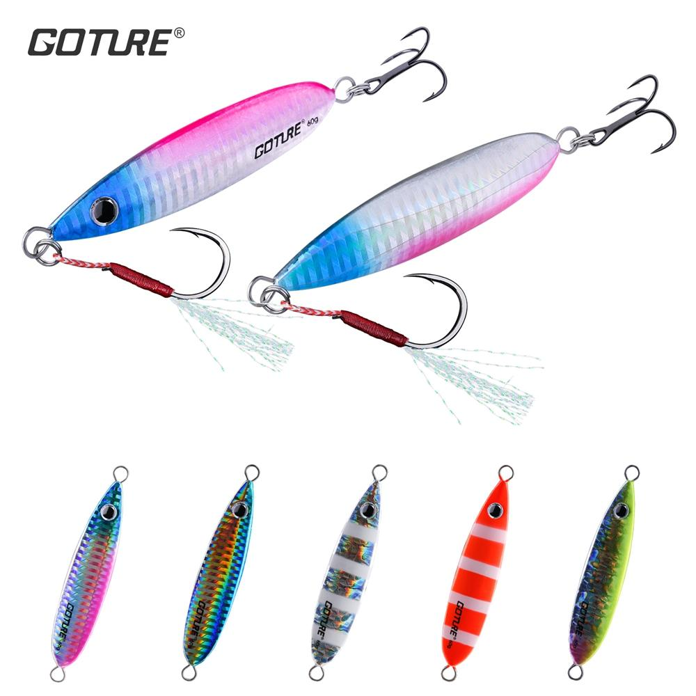 Cheap Lures Goture 5pcs/set 40g 60g Metal Jig Jigging Lure Casting Fishing Wobbers Bait Sea Bass Fishing Lure Artificial Bait Hard