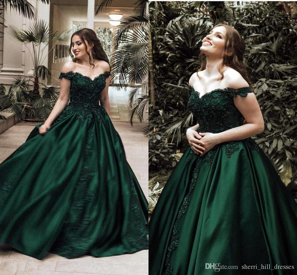 a0f454ca1f0 Newest Dark Green Vintage Prom Dresses Satin Sexy Off The Shoulder Lace  Applique Beaded Formal Occasion Wear Evening Gowns Evening Dress Formal  Evening ...