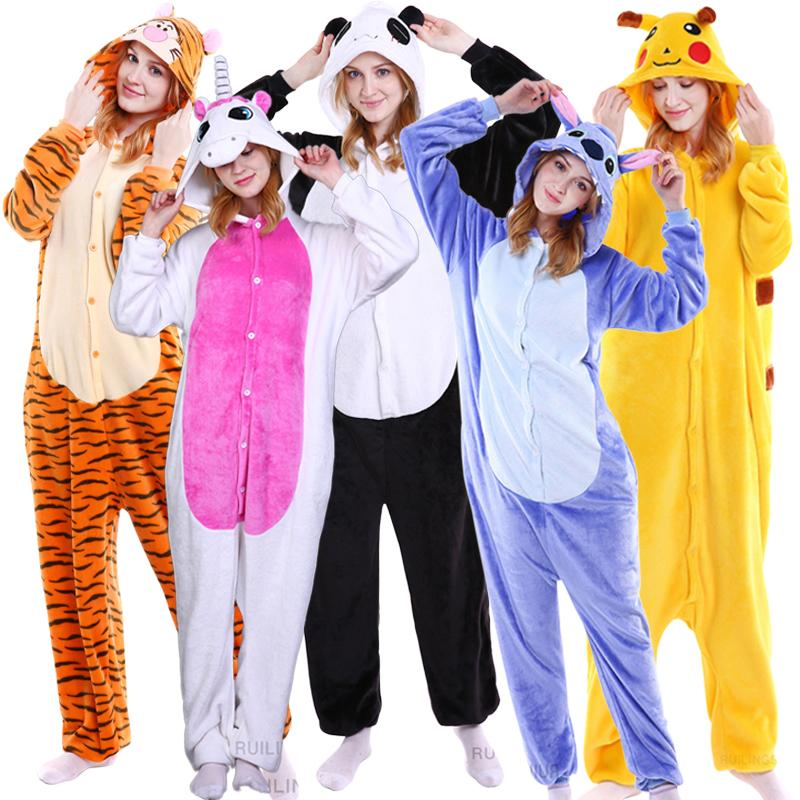 Winter Halloween Cosplay Adult For Woman's Men's Pajamas Animal Pyjamas Flannel Sets Hooded Sleepwear Stitch Panda Pajama