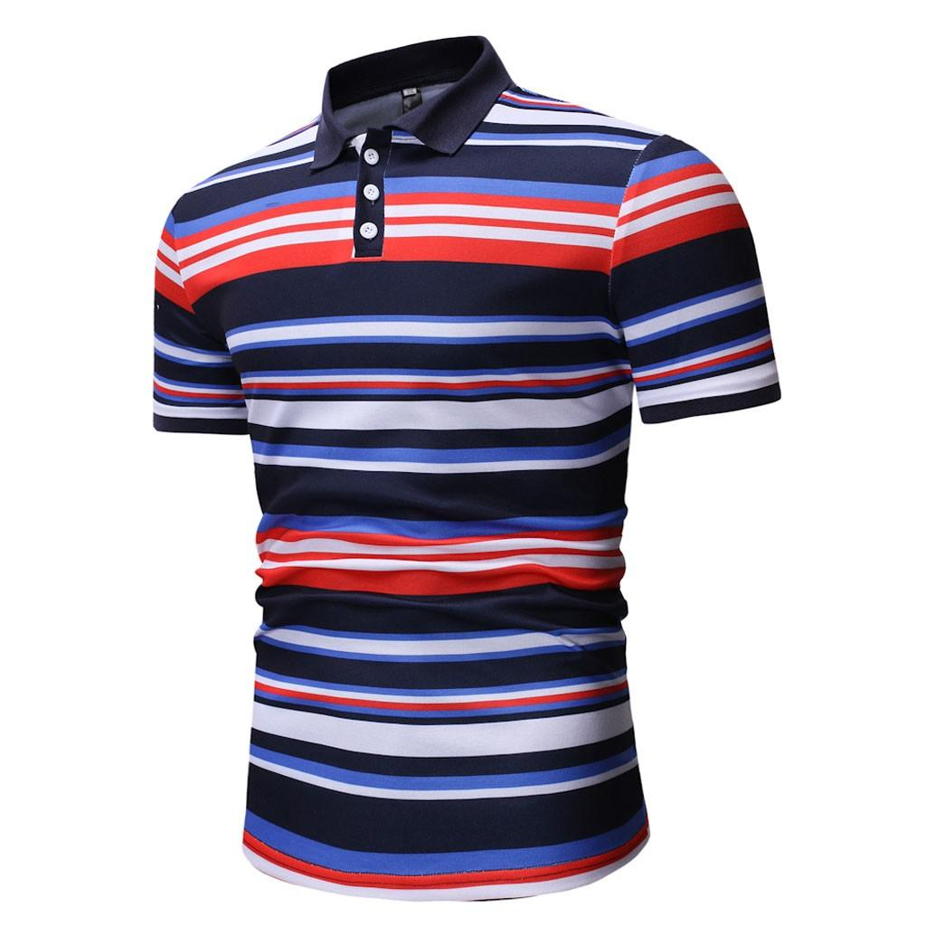FeiTong Spring Polo Shirt Men 2019 Turn-Down Collar Top Brand Mens Clothing Fashion Casual Short Sleeve Striped Slim Polo Shirt