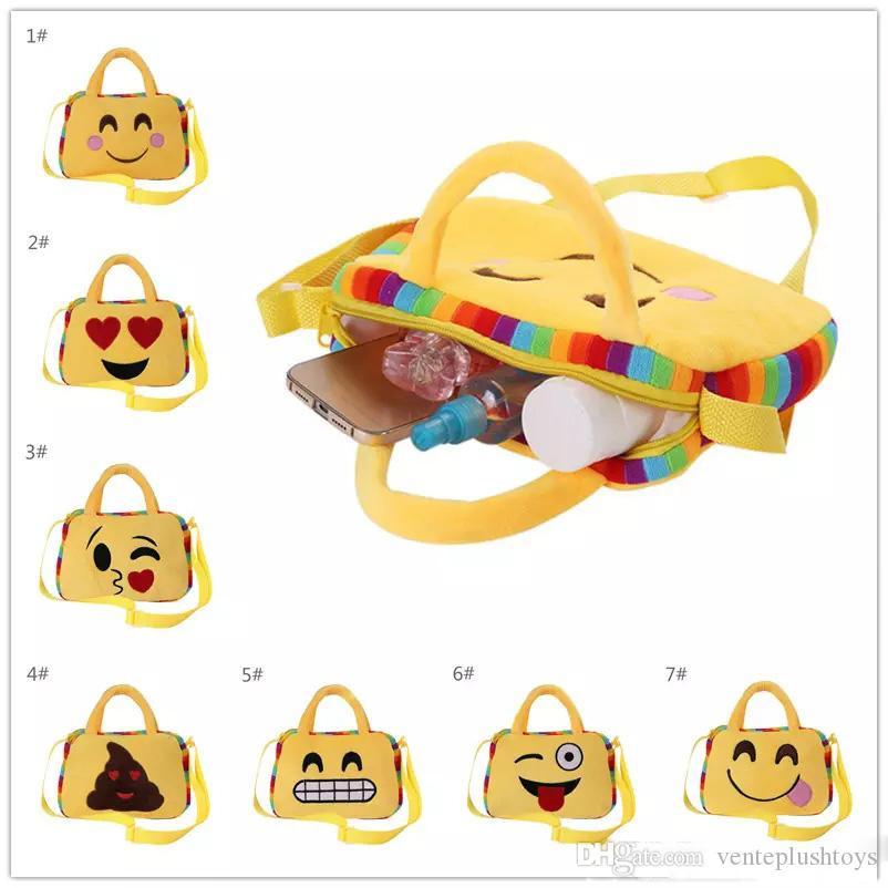 Kids Emoji Plush Backpack Toys QQ Face Expression Cute Messenger Bags  Crossbody Handbag Cute Smiling Face Children Shoulder Bag Schoolbag