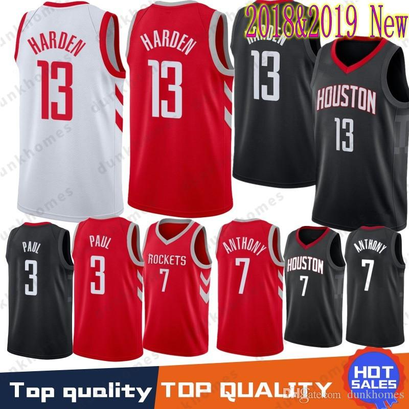 9d918703e ... free shipping 13 james harden jerseys rockets 3 chris paul 7 carmelo  anthony men embroidery logos