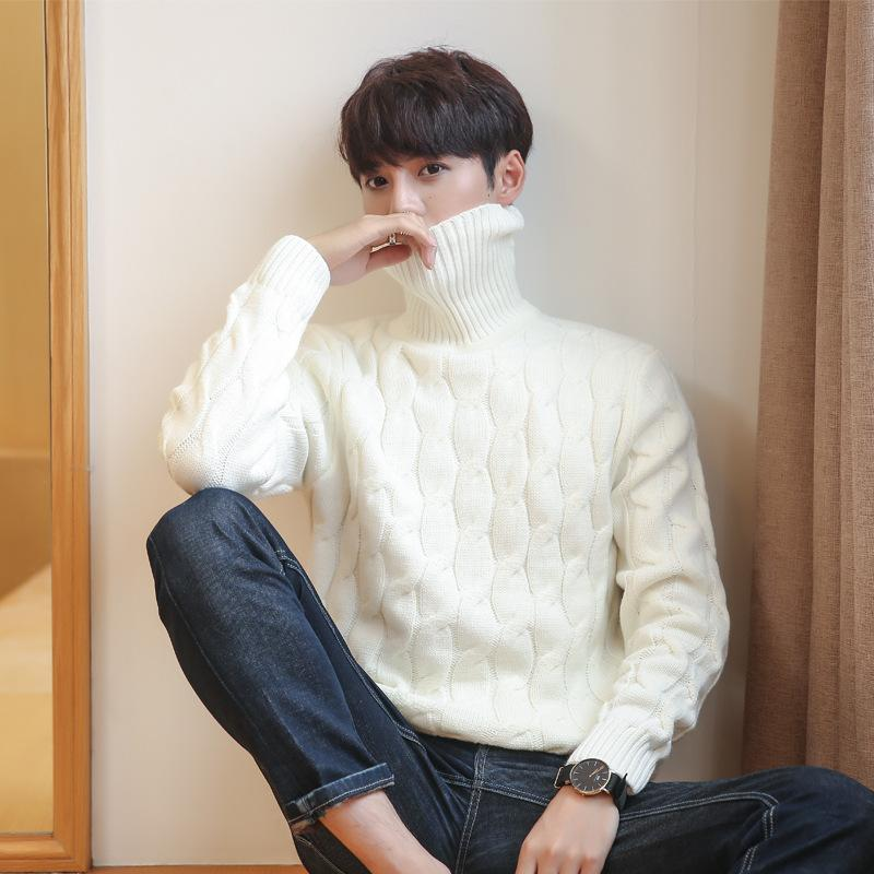 fca7fc9f949 2019 Korean White Knitted Turtleneck Men Sweater Man Solid Winter Pullover  Men Sweater Coat Mens Plus Size Sweaters 5xl 4xl 3xl Black From Hongxigua