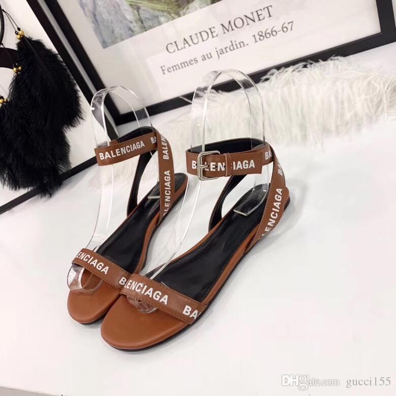 2019 nuovo sandalo del progettista del marchio di lusso piano strappy moda casual di alta qualità lavoro sandalo donne consegna gratuita con scatola BL13