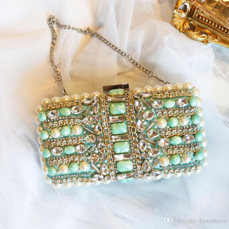 day clutches emerald green crystal evening dress ladies handbag emerald jewelry luxury dinner bag chain bag phones bags #467920