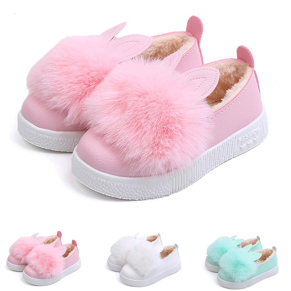 502e5e1f3b25d Acheter Bonne Qualité Enfants Chaussures Hiver Chaud Bébé Sneaker Fille  Lapin Doux Anti Slip Botte Lapin Oreille Chaussure Enfant De  30.22 Du  Victorys02 ...