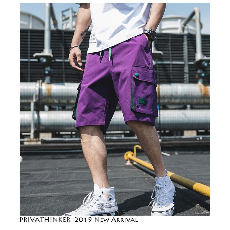 Grandes Hip Purple Hombre Bolsillos Vintage Hop Mens Shorts Style Verano Hombres Streetwear 2019 Safari Joggers POkn80w