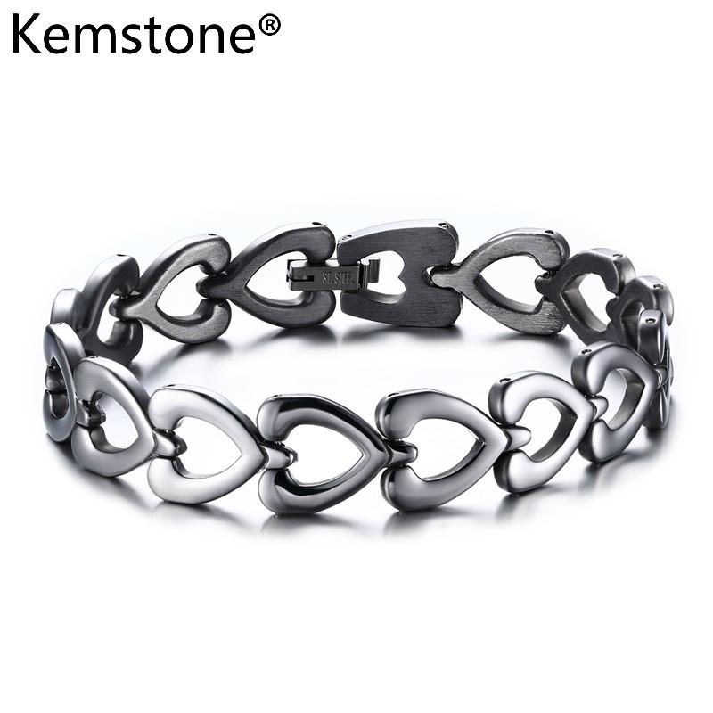 915ed52d96 Kemstone Sliver Color Stainless Steel Heart Hollow-out Chain Link Bracelet  Jewelry Gift For Men Women
