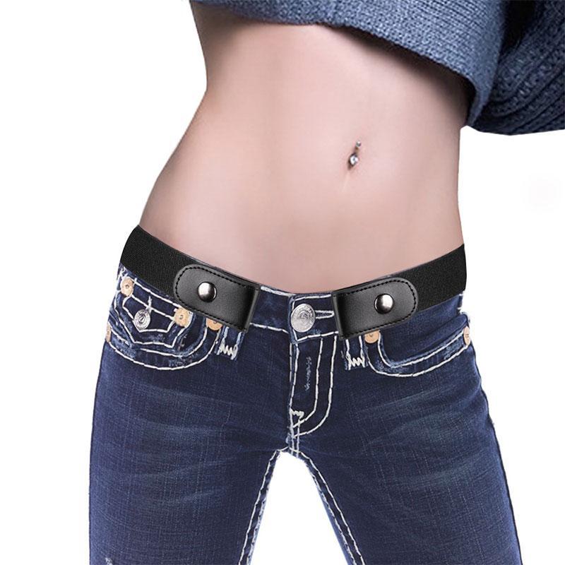 Compre Unisex PU Hebilla De Cuero Cinturón Elástico Libre Pantalones  Vaqueros Pantalones Vestidos Tallas Grandes No Hebilla   Show Invisible  Cinturón De ... 67d75399c62f