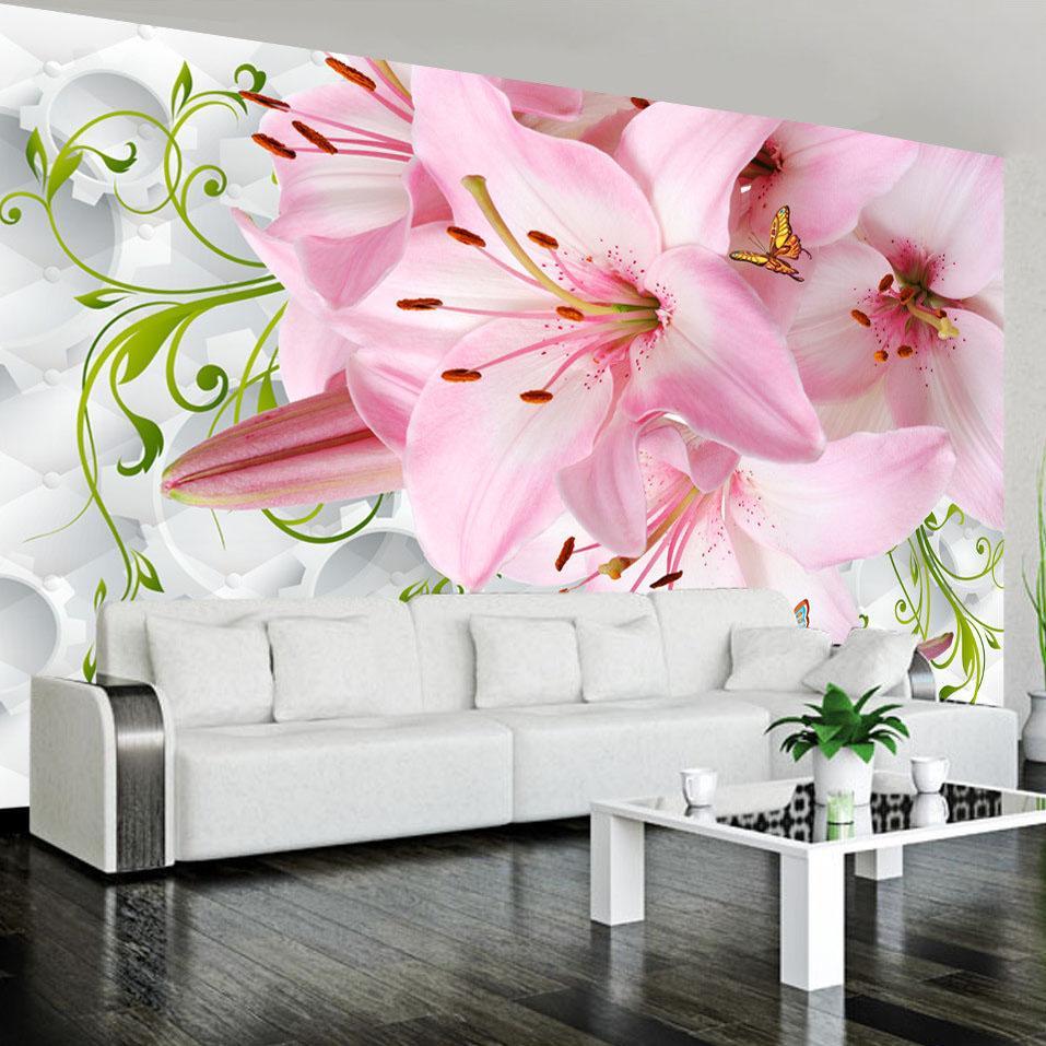Compre Personalizado 3d Mural De Pared Grande Flores Hermosas