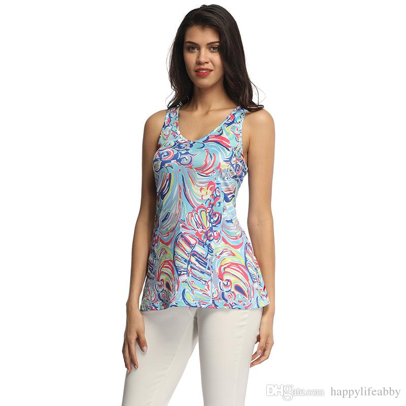 4ad93a36de9 Summer Colorful Rainbow Women Tank Top Lilly Pulitzer Tank Top ...