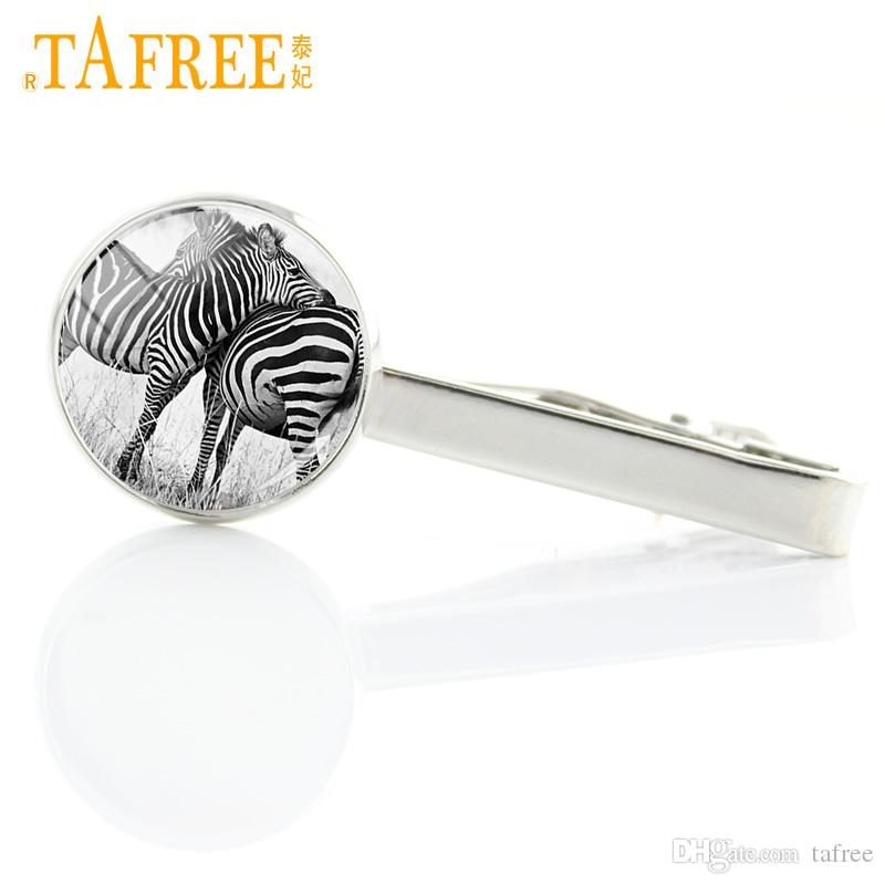TAFREE brand design handmade animal art tie clips for men dress accessories zebra deer wolf tiger dog birds tie bar jewelry A236
