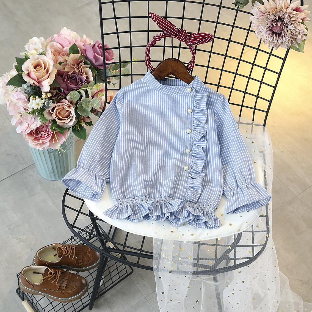 2019 new autumn arrival girl long sleeve stripe top with pearl fashion design 0 cute t-shirt 3 d 3D blank baby good Tights geometric boy