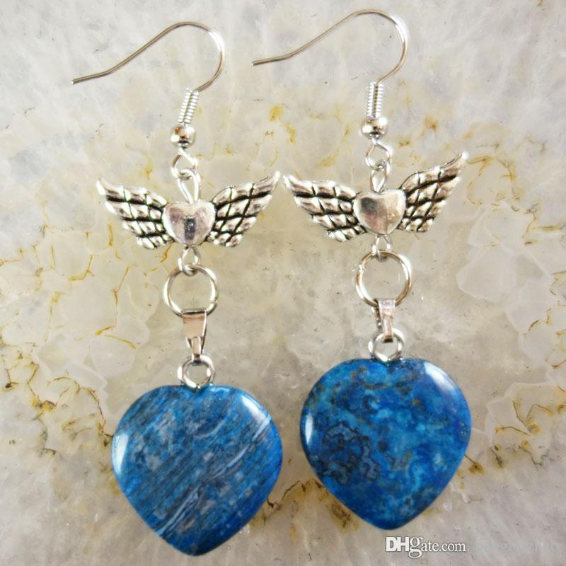 0e86f21b3e86d A Pair of Carved Blue Crazy Lace Agate Heart & Tibet silver Flower Earrings  58x20x6mm