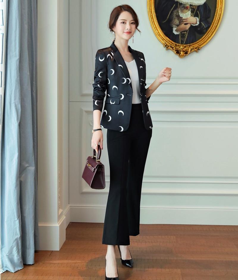 a2f1d5e177c9 Acquista New 2019 Ladies Casual Black Print Blazer Abiti Da Lavoro Da Donna  Con Pantaloni E Giacca. Set Da Ufficio A  84.38 Dal Synthetic