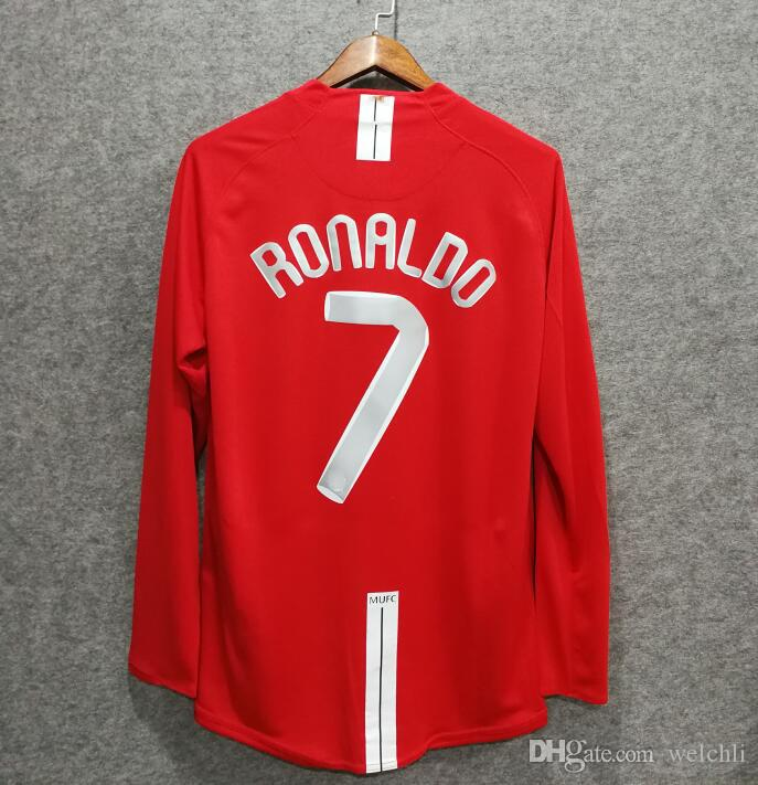 cac43f0f8d0 2019 Classic Retro Soccer Jerseys 2007 MU Football Shirts Top Quality  Soccer Lothing Custom Name Number Ronaldo 7 Rooney 10 UCL Long Sleeve From  Welchli