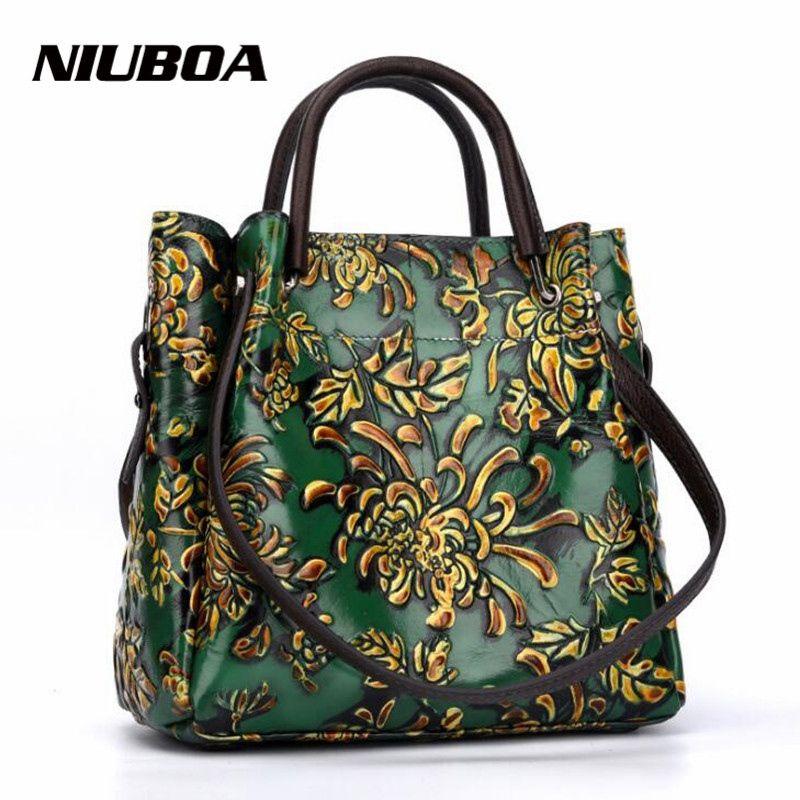 0e699d892a Acquista NIUBOA New Luxury Borsa In Vera Pelle Donna Borse Tote Vintage  Folk Custom Stampa Lady Borsa A Tracolla In Rilievo Pelle Bovina Borse #  112970 A ...