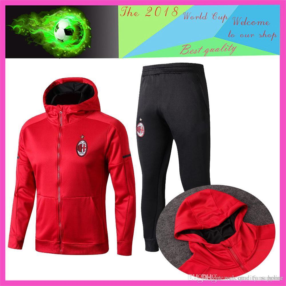 2018 AC Milan Red Hoodie Jacket with Caps Ajax Tracksuit Sweater ... 1649091a6079b