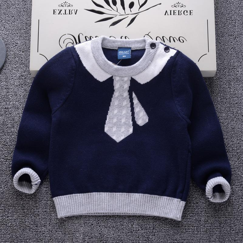 2c90af286e0e Good Quality Necktie Pattern Boys Girls Knitted Sweater Kids Spring ...