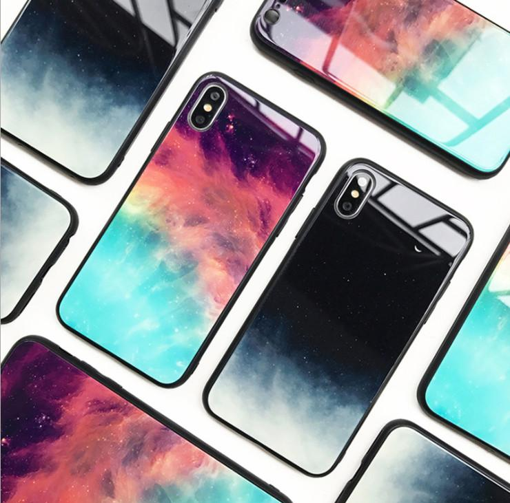 Starry Sky Phone Cases Tempered Glass Back Cover Fashion Desinger Shockproof Protector for iPhone X XS XR Xs Max 6 6s 6plus 7 7p 8 Plus