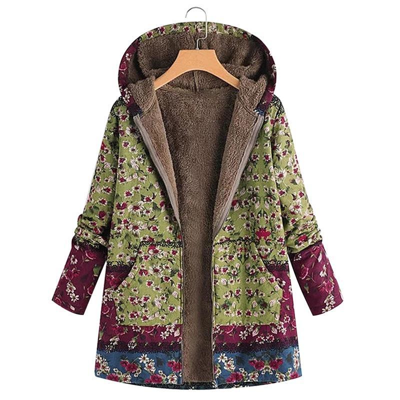 2019 Frauen Warme Winterjacke Gedruckt Mit Kapuze Mantel Reißverschluss Jacken Windbreaker Kleidung