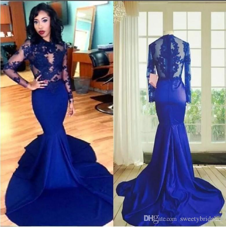 e93c7acc755 2019 Royal Blue African Black Girls Prom Dresses Long Sleeve Sexy See  Through Court Train Satin Lace Formal Mermaid Evening Gowns Long White Prom  Dress Low ...