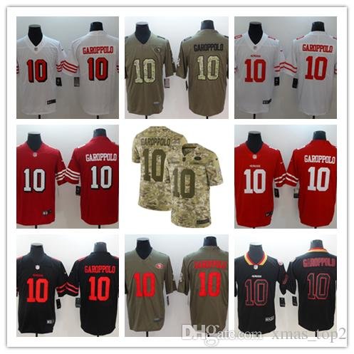 finest selection ffd7a 091ec New Mens 10 Jimmy Garoppolo Jersey San Francisco 49ers Football Jersey 100%  Stitched Embroidery Jimmy Garoppolo Color Rush Football Shirts