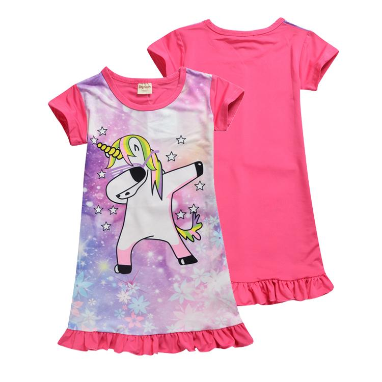 9dad0db9 2019 Unicorn Girls Dresses 4 12t Baby Girls Summer Short Sleeve Pink ...