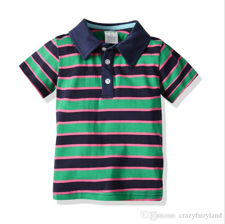 73a62abc4b 2019 Kids Toddler Boys Striped Polos Shirts Tops 2019 Summer Boys Short  Sleeve 100% Cotton Polo Shirts Tops Tees Casual Clothing Baby Clothes From  ...