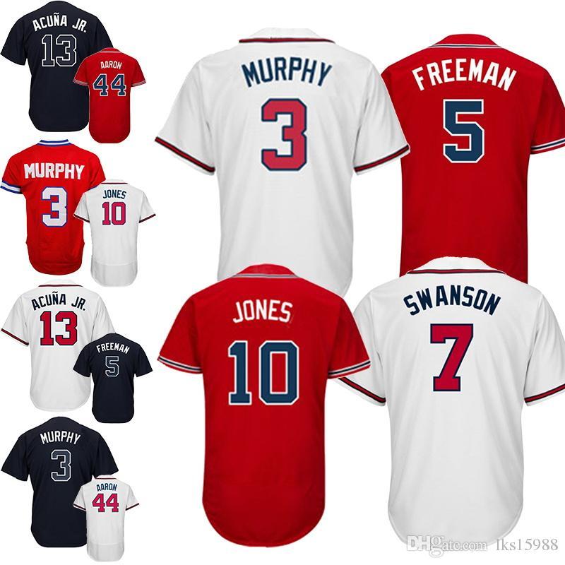 c060162f9 Atlanta Braves Jerseys 5 Freddie Freeman Jersey 3 Dale Murphy Jersey 44  Hank Aaron Fabric breathable design is preferred