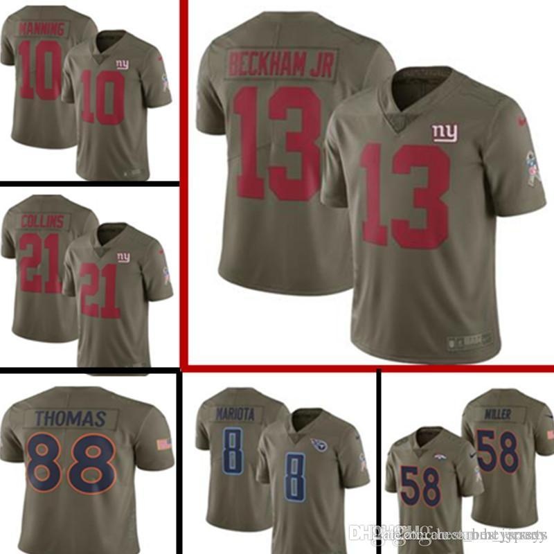 buy popular 3f9c6 193f6 2017 Salute to Service New York Giants Jersey Mens 13 Odell Beckham Jr 10  Eli Manning Football Jerseys 58 Von Miller 8 Marcus Mariota