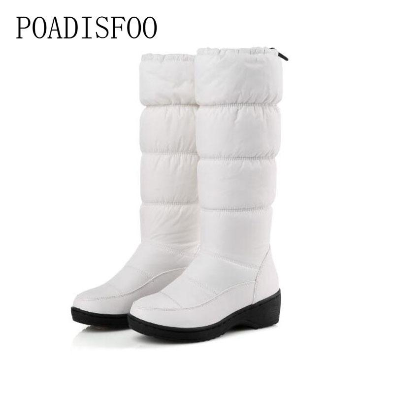 2019 POADISFOO women winter knee high boots casual winter down snow boots popular round toe slip-on shoes long warm show boots .X-85
