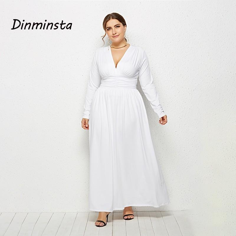 Dinminsta Autumn Women Plus Size Long Maxi Dress Female V Neck Full Sleeve  Elastic High Waist Frocks Design 3XL Casual Dresses