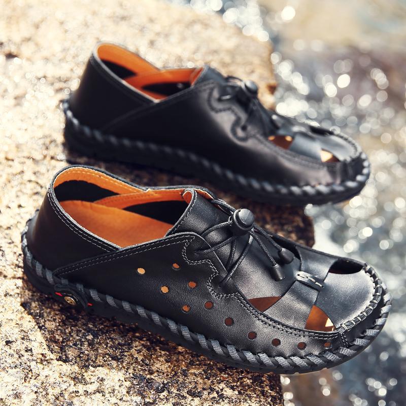 watch ac6b7 9134a Männer Schuhe Sommer Hausschuhe Männer echtes Leder atmungsaktives Nähen  handgemachte Sandalen Strand Hausschuhe Alias Hombre Sandale Homme 5