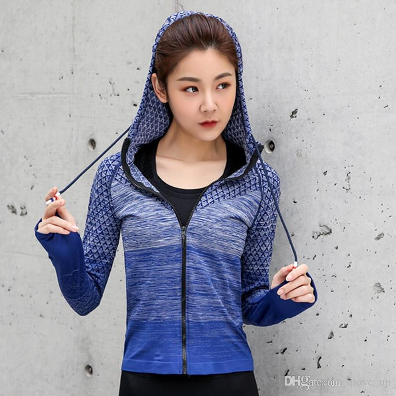 4f386e4e7a25aa 2019 Women Sports Running Jackets Gym Hoodies Long Sleeve Yoga Shirts  Workout Hoodie Training Femme Fitness Clothing Sports Wear Top  353203 From  Move up