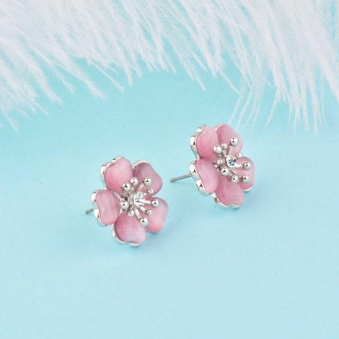 Charm Pendientes sólidos flor del ciruelo del pie derecho con joyería azul rosado beige Opal Piedras femenino color rosa en oro Es660 SSI
