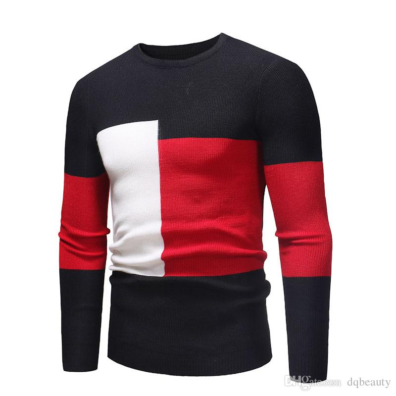 New Fashion Men's Slim Sweaters Color Block Design Autumn and Winter Thin Sweaters Contrast Color Style