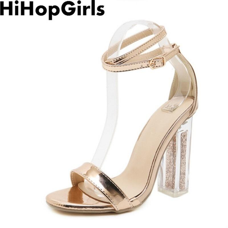 f2ea336e Compre Vestido Hihopgirls Verano Roma Color Sólido Bombas Con Hebilla Sandalias  De Mujer Sexy Tacones Altos Moda Transparente Transparente Con Zapatos De  ...