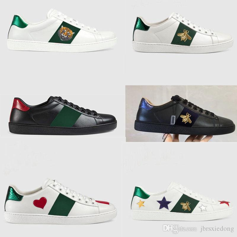 ea5195372e0 Sports Shoes For Men And Women 2019 Designer S White Shoes Authentic  Cowhide Flat Sole Little Bee Embroidered Lovers Leisure Shoes Wholesale  Womens Shoes ...