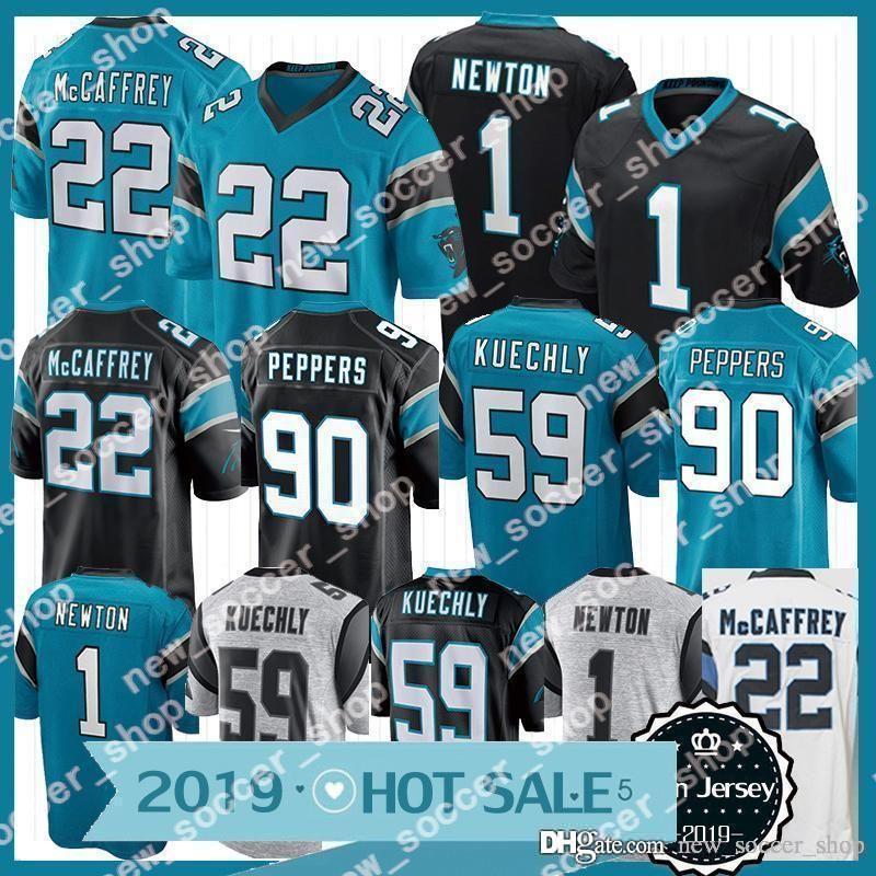 huge selection of 3bc0b 3c665 Carolina 1 Cam Newton Panthers jersey 22 Christian McCaffrey 59 Luke  Kuechly Embroidery Logos Mens 90 Julius Peppers Jerseys